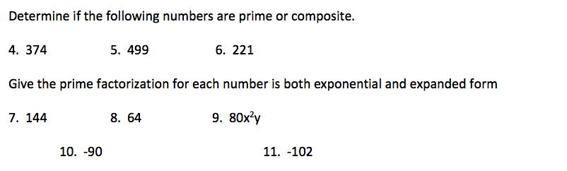 F 2 Prime Numbers And Prime Factorization Pre Algebra
