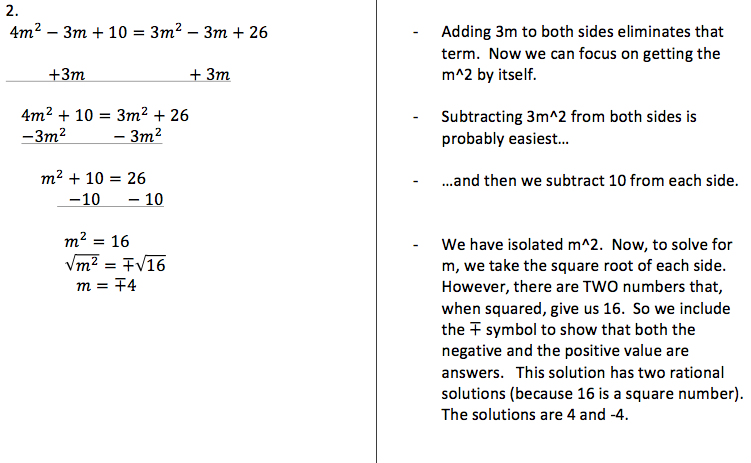 H 1 Solving Equations With Squared Variables Pre Algebra