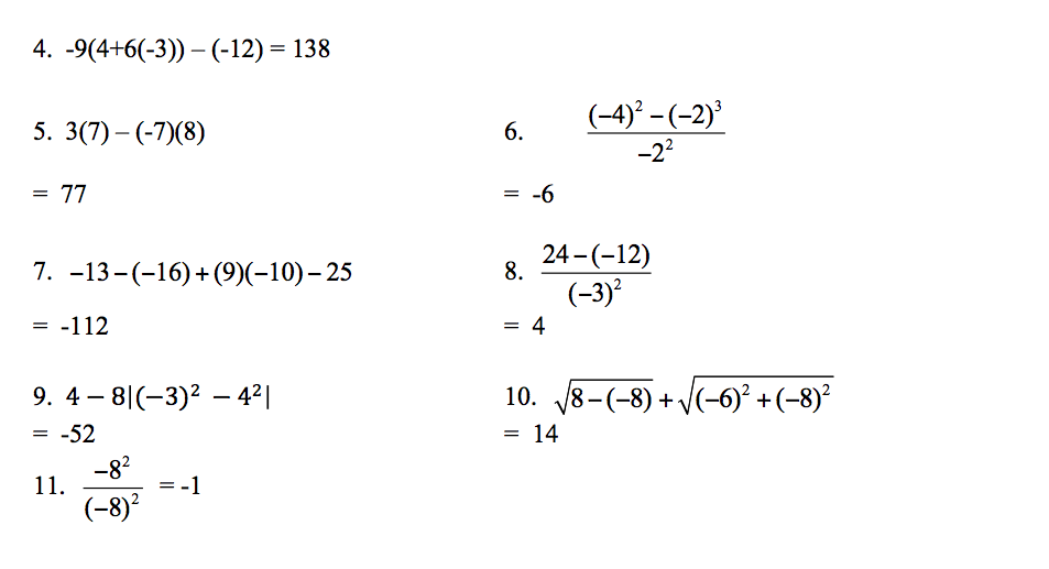 C-5: Order of Operations With Integers | Pre-Algebra